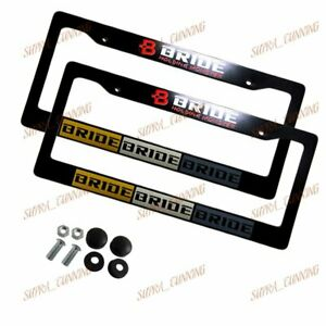 X2 Jdm Bride Black License Plate Frame Abs Caps For Honda Civic Crv Acura New