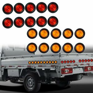 10 Red 10 Amber 2 5 Round 4led Truck Trailer Lamp Side Marker Clearance Light
