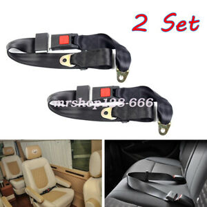 Car Seat Belt Lap 2 Point Safety Travel Adjustable Retractable Auto Universal 2x