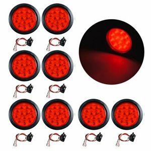 4 Round 12 led Brake Stop Tail Light Reverse Grommet Plug Truck Rv Suv 8x Red
