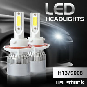2x H13 9008 Led Headlight Bulbs Conversion Kit High Low Beam 6000k 100w 20000lm
