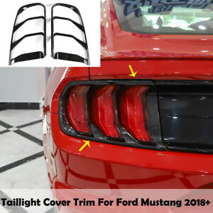Carbon Fiber Grain Tail Light Lamp Cover Trim Decor Frame For Ford Mustang 2018