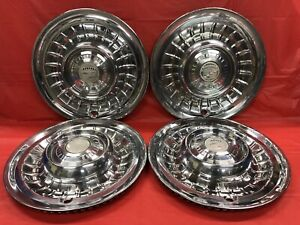 Vintage Set Of 4 1958 59 Cadillac 15 Hubcaps El Dorado Fleetwood Good Condition