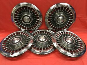 Vintage Set Of 5 1966 Pontiac 14 Hubcaps Bonneville Catalina Good Condition