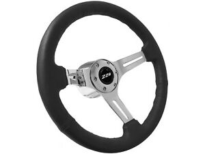 1969 1989 Chevy Camaro Z28 S6 Sport Black Leather Steering Wheel Chrome Kit