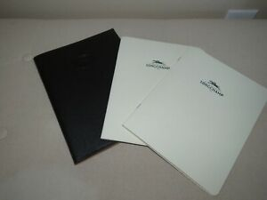 Longchamp Black Pebbled Leather Logo Notepad Cover With Paper Rare Nice