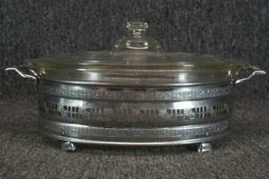 Silver Plated Oval Serving Tray With Pyrex Inset Glass Bowl With Lid 10 Long