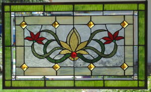 Stained Glass Transom Window Hanging 25 X 15 1 2 Brass Frame Edging