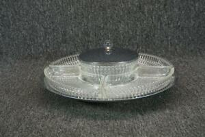 Elegant Silver Plated Glass Chip Dip With Divided Relish Tray Serving Plate