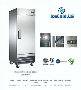 29 Reach in Upright Commercial Refrigerator Stainless Steel Cooler