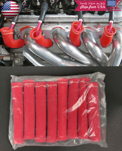 8 Pc 2500 Red Spark Plug Wire Heat Shield Boots Protector Sleeve Fit Ford Chevy