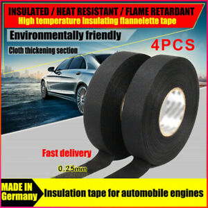 4 Rolls Tesa Cloth Tape Adhesive Looms Wire Harness 19mm 15m Black For Car Auto