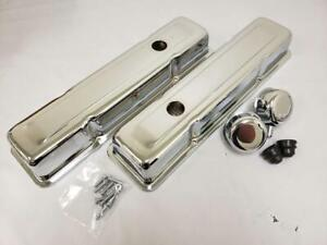 1958 1986 Small Block Chevy Short 2 5 8 Chrome Valve Covers Breather Pcv Sbc