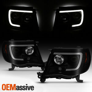 For 2005 2011 Toyota Tacoma U Tube Bar Projector Black Smoked Headlights Pair