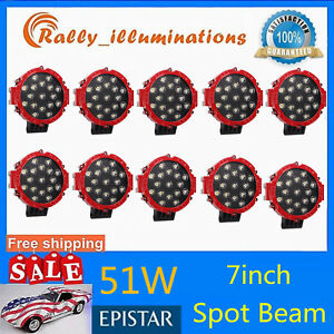 10x 7inch 51w Round Led Work Lights Bull Bar Driving Red Spot Truck Off Road 4wd