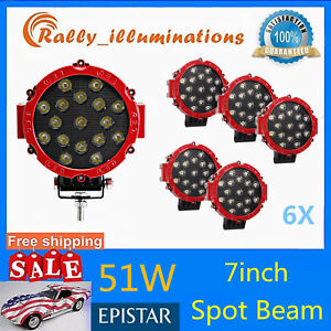 6x 7 Inch 51w Round Off Road Led Work Lights Spot Truck Bumper Boat 4x4wd Red