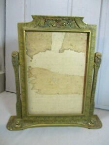 Vintage Wood Photo Stand Tilts Picture Frame W Swing Stand Ornate Nice