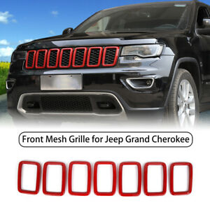 Front Grill Grille Inserts Trim Rings Cover For Jeep Grand Cherokee 2017 2019 7x