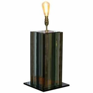 Seriously Cool 1970 S Panelled Coloured Distressed Glass Table Lamp Retro Find