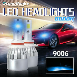 2x 9006 Hb4 Cob 8000k Ice Blue Led Headlight Bulbs Conversion Kit High Low Beam