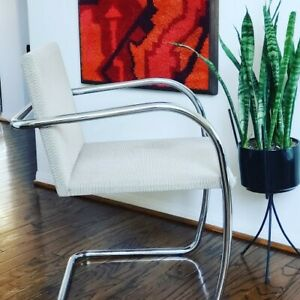 1 Knoll Tubular Brno Chairs By Mies Van Der Rohe 1995 Off White