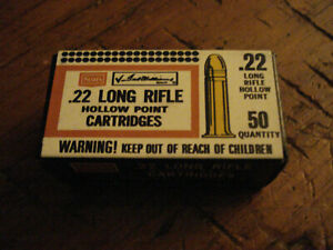 SEARS TED WILLIAMS 22 LR AMMO SHELL BOX EMPTY HOLLOW POINTS !!!