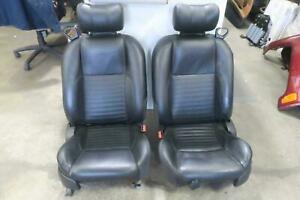 2002 Ford Thunderbird Front Seat Set Bucket Leather Black Oem