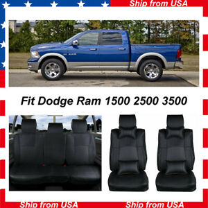 Front Rear Car Seat Covers For Dodge Ram 1500 2500 2010 2018 W n 4 Pillows Black