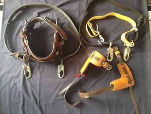 Bashlin Lineman Pole Climbing Gear W adjt 3 spikes Belts 22 24 25 28 W acs
