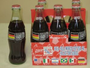 1994 COCA COLA WORLD CUP 6 PACK FULL NEVER OPENED GERMANY BOTTLES