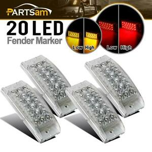 2 Red 2 Amber Clear Fender Side Cab Marker Stop Turn Tail Brake Light 6 20led