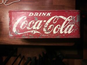 Vintage Stadium Vendor Coca Cola Red Metal Cooler *RARE PIECE*