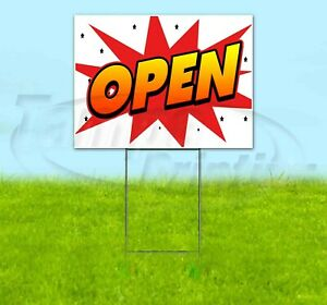 Open 18x24 Yard Sign Corrugated Plastic Bandit Lawn Business Usa