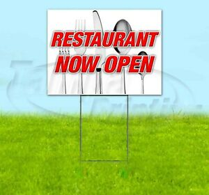 Restaurant Now Open 18x24 Yard Sign Corrugated Plastic Bandit Lawn Decoration
