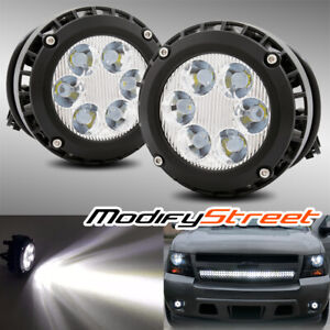 For 07 14 Chevy Tahoe Led Round Fog Lights Bumper Driving Lamps Left Right Set