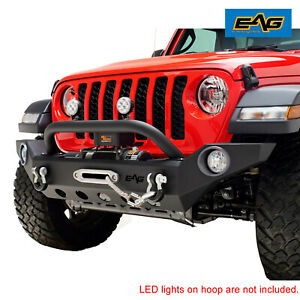 Eag Front Bumper Heavy Duty With Winch Plate Fit For 2020 Jeep Jt Gladiator