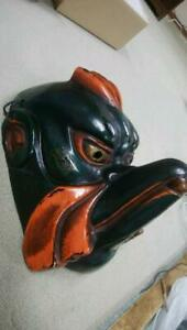 Japanese Traditional Mask Karasu Tengu Wood Carving Antique Vintage