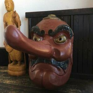 Japanese Traditional Mask Tengu Wood Carving Large Size Antique Vintage