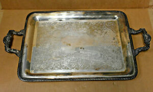 Wm Rogers Serving Tray Platter Silver Plated Large 23 Dual Handles