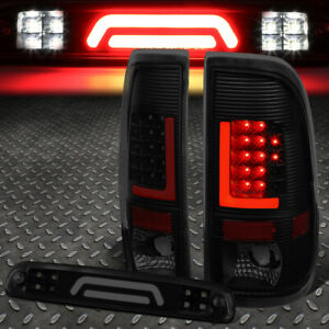 For 08 16 Ford Super Duty Red Led L bar Tail 3d Third Brake cargo Light Smoked