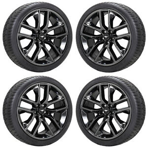 20 Ford Mustang Gt Pvd Black Chrome Wheels Rims Tires Factory Oem Set 4 10039