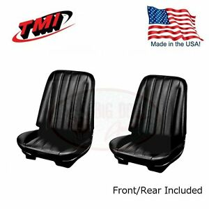1966 Chevelle Coupe Black Bucket Seat rear Bench Upholstery By Tmi In Stock