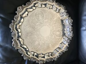 Vintage Sheridan 17 Round Silver Plate Footed Serving Tray