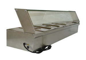 Intbuying Food Warmer For Commercial 5 pan With Protection Glass 110v Electric