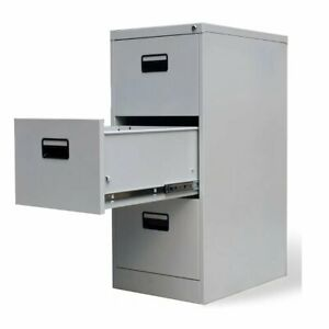 Steel Units Mobile Filing Drawer Cabinet With 3 Drawers Storage Units Grey