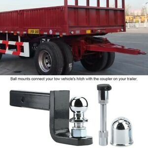 Adjustable 2in Ball Mount Hitch Trailer Tow Bar Tongue Kit Set 5000lbs Traction