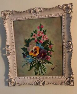 Antique Victorian Style Framed Art Flower Pansy Boquet Fits 11 X 13 Picture