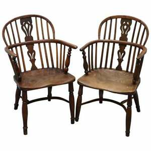 Two Early 19th Century Burr Yew Wood Elm Windsor Armchairs Part Set Of Four