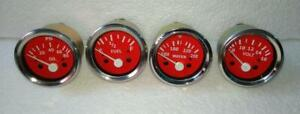 2 52mm Electrical Oil Pressure Temperature Volt Fuel Gauge Red Face