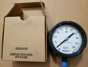 Ashcroft 45 1279as 04l 100 Psi 4 5 Pressure Gauge Duragauge 451279as04lxll100